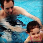 Angus and Adara swim